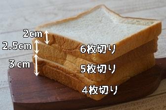 4~6枚切り パンの厚さ