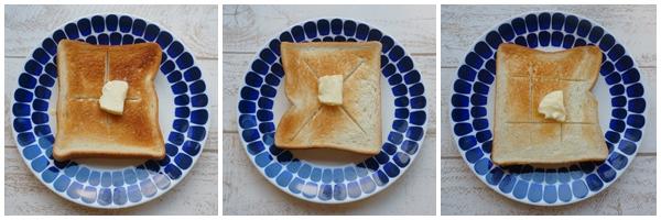 トーストの切り込み3パターン 画像